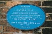 Plaque on the wall of the Cannon Mill