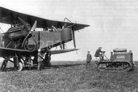 Clayton & Shuttleworth-manufactured Handley Page O/400 bomber being towed out of the factory by a C&S tractor
