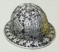 photograph of a roughneck's helmet